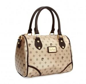 Silindir şeklinde krem bayan çanta