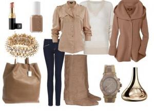 Bayanlara kışları giymeleri için hazırlanmış kahverenginin tonlarını kapsayan kombin