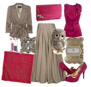 Baykuş tokalı pembe ve kahverengine sahip bayan kombin