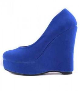 Gizli topuklu babet görünümlü deniz mavisi genç bayan ayakkabısı
