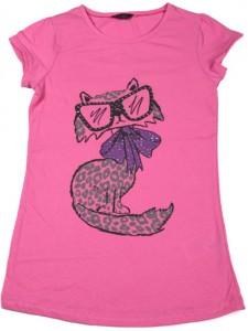 Kolları omuzlara sıfır olan zeki kedi desenli pembe tişört