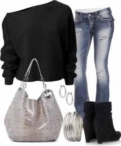 Siyah ve  kot pantolonlu gümüş telkarili bilezik