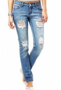 Yırtık kumaşlı lacivert ve beyaz renkli jean pantolon