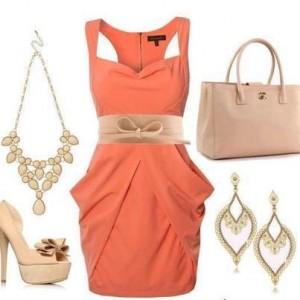 Askı abiyeli portakal turuncusu bayan kombin modeli