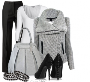 Büyük yakalı beyaz bayan gri kombin siyah modeli