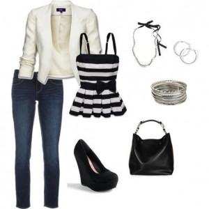 Beyaz ceketli siyah gizli topuklu bayan ayakkabılı bayan kombin modeli