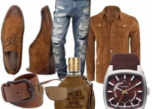 Erkekler için eski model kahverengi kombin