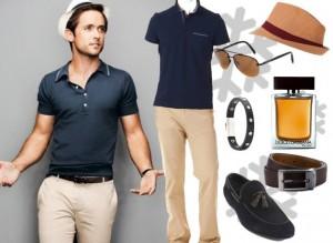 Fötr şapkalı koyu gri tişörtlü erkek kombin modeli