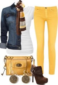 Foto montaj tanıtımlı lacivert sarı kombin bayan modeli