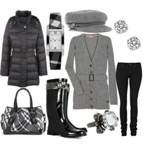 Gri ve siyah hırka,mont,pantolon,çizme,bot ve çanta bayan kombin