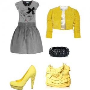 Küçük kızlar için gri sarı kız kombin