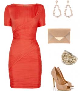 Kan portakalı turuncusu renginde kollu abiyeli bayan kombin modeli