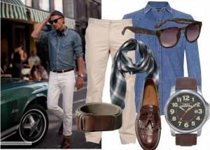 Mavi gömlekli beyaz pantolonlu erkek kombin