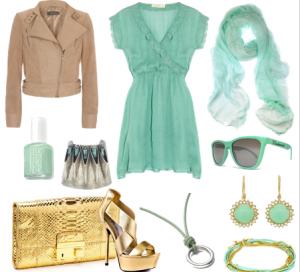 Mavimsi yeşil kombin modeli bayanlar için hazırlandı