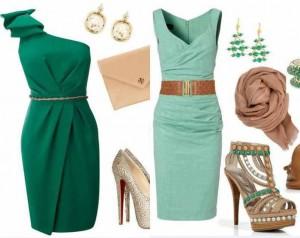 Mintimsi yeşil renkli abiyeli bayan kombin modeli