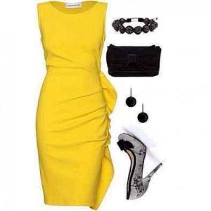 Sarı siyah abiyeli güzel bayan kombin