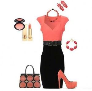 Siyah çanta ve etek turuncu bluz ve ayakkabı bayan kombin modeli