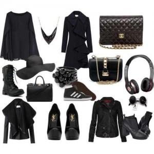 Siyah renkli ceketli,montlu,pardesülü,ayakkabılı,şapkalı ve benzeri parçalara sahip tesettür bayan kombin modeli