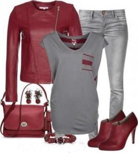 Yazın son trendi kırmızı gri bayan kombin modeli
