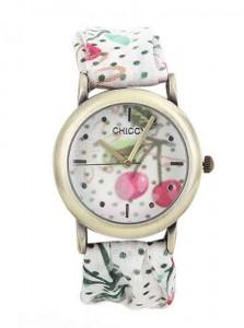 Kemeri keten olan çiçekli bayan beyaz kol saati