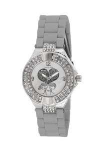 Pırlanta işlemeli çizgi karakterli bayan gümüş kol saati