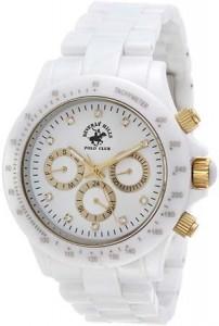 Polo markasının bayanlara tasarladığı altın düğmeli kar beyaz saat