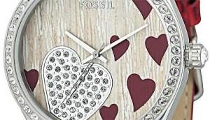 Fossil solmuş gül yapraklı bayan kol saati