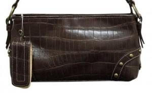 Kahverengi yılan derisinden yapılma bayan çanta