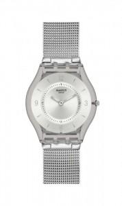 Metalik ağ işlemeli Swatch bayan kol saati