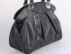 Market poşeti şeklinde siyah bayan çanta