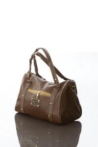 Sarma şeklinde desenlere sahip kahverengi bayan kol çantası